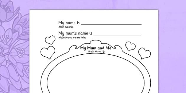 Mother's Day Worksheet Polish Translation - polish, worksheets