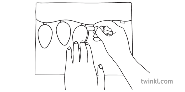 Christmas Fairy Lights Png.05 Outline Christmas Fairy Lights Craft Wales With Hands Ks1