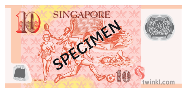 10 Dollar Note Back Singapore Money Currency Secondary