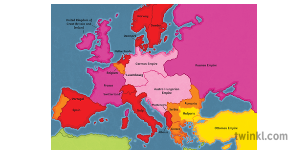 1914 Alliances Colour Map Countries Europe First World War ...