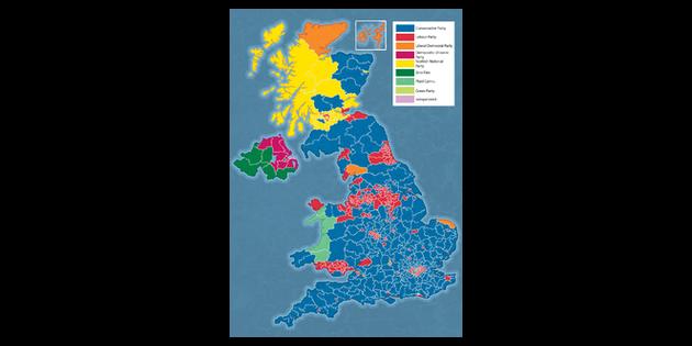 Map Of Uk General Election Results.2017 General Election Results Map Uk Politics Pshce Ks3 Ks4 Illustration