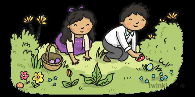 6 Easter Egg Hunt Illustration Twinkl