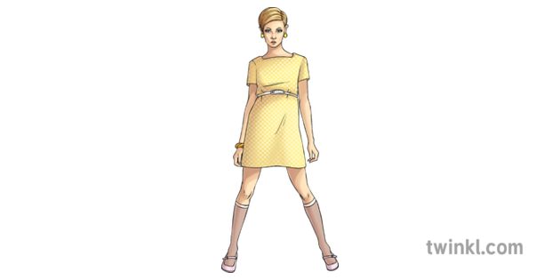 60s Fashion Twiggy 2 Illustration , Twinkl