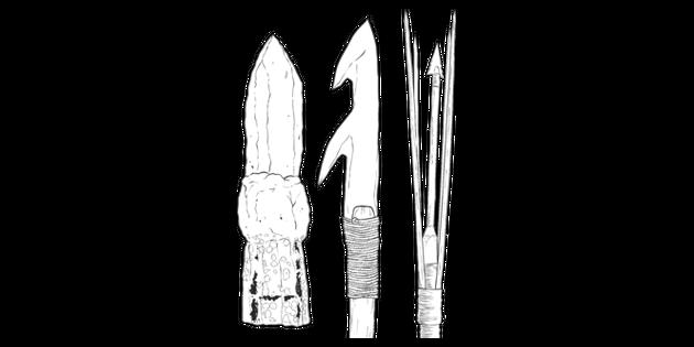 Aboriginal Spear Heads Australia History Weaponry Ks2 Black And White