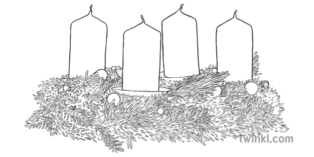 Corona De Adviento Blanco Y Negro 2 Ilustración Twinkl