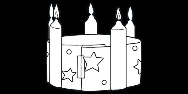 Corona De Adviento Blanco Y Negro Ilustración Twinkl