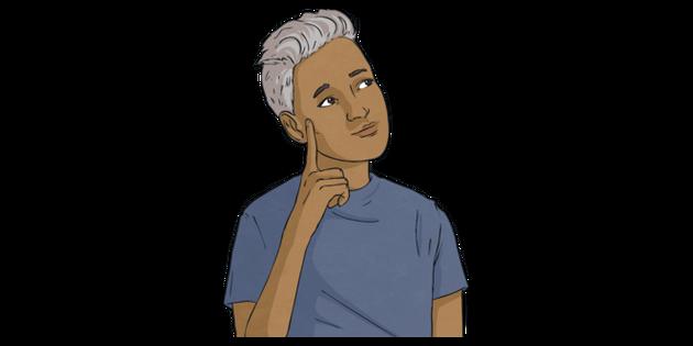 Alex Thinking Gender Neutral Non Binary LGBT Life KS2 Illustration
