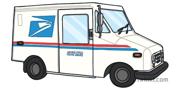American Mail Truck Post Office Word Cards KS1 ...Usps Delivery Truck Clipart