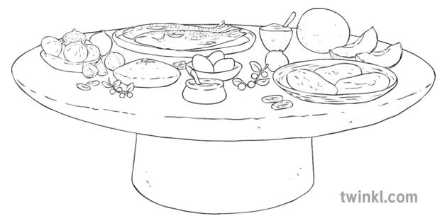 Ancient Egyptian Feast Food History Ks2 Black And White Rgb Ilustracao
