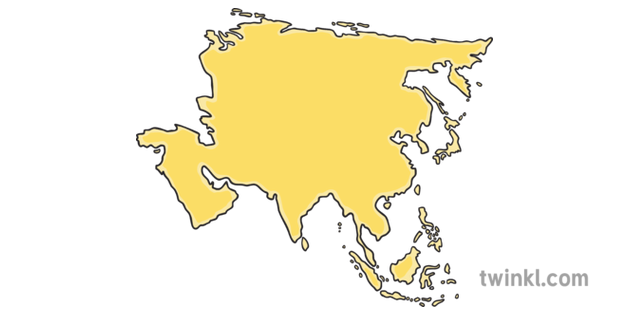 Map Of Asia Ks1.Asia Ocean And Continents Cut And Stick Activity Ks1 Illustration