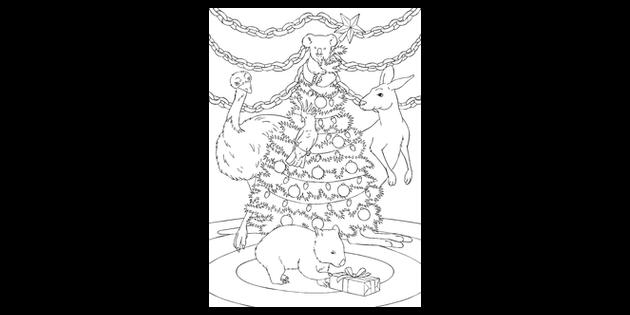 Australian Christmas Tree Mindfulness Colouring Animals Australia Ks2