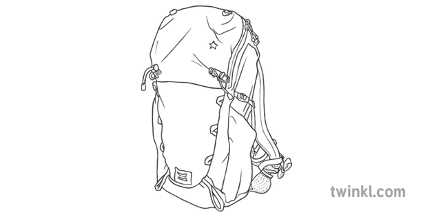 Backpack Bag Hiking Travel Big Camping Design Secondary Bw Rgb Illustration