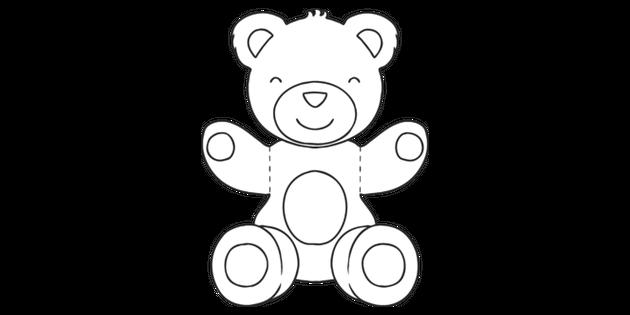 Bear Hug Template Teddy Bear Ks1 Black And White Illustration Twinkl
