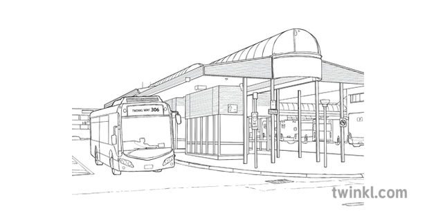 Bus Station Transport City Building Vehicle Ks2 Black And White Rgb