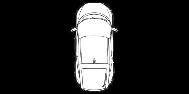 Car Birds Eye View Geometry Beebot Maths Ks1 Black And White Illustration