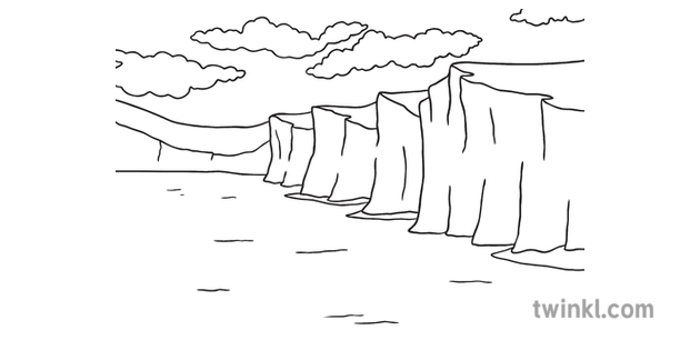 Chalk Cliffs Landscape Sea Geology Dover Ks1 Black And White Rgb