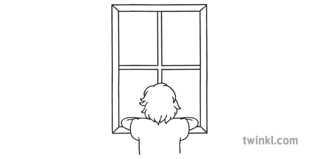 Child Looking Through Window Black And White Illustration Twinkl