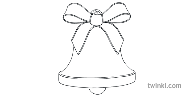 Christmas Bell Colouring Illustration - Twinkl
