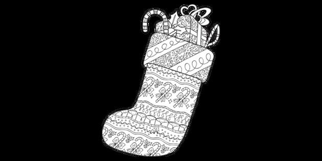 Christmas Stocking Pattern 3 Mindfulness Colouring Sheets ...