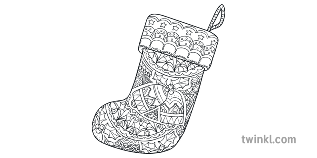 Christmas Stocking Pattern 4 Mindfulness Colouring Sheets ...