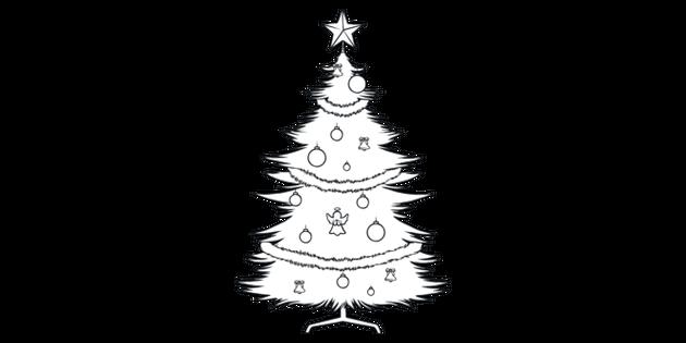 Christmas Tree Colouring Illustration - Twinkl