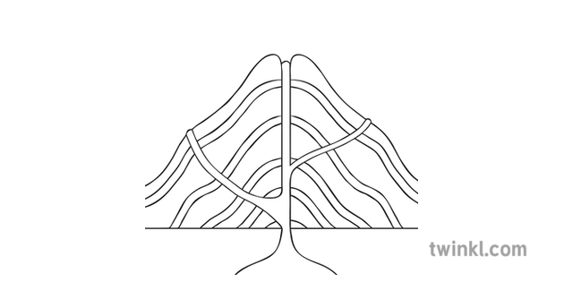 Composite Volcano No Labels Geography Diagram Ks2 Black And White