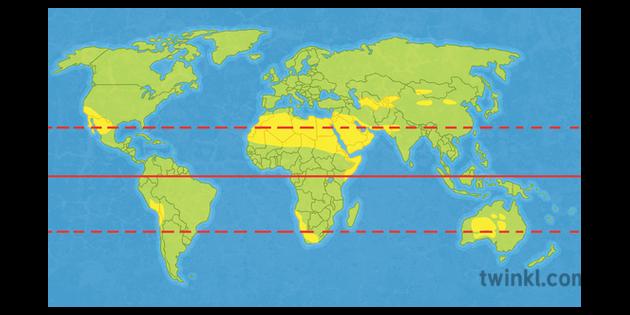 Deserts Map World Blank Geography KS3 Illustration - Twinkl
