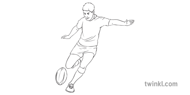 Drop Kick Rugby Sport PE Secondary Bw RGB Illustration - Twinkl