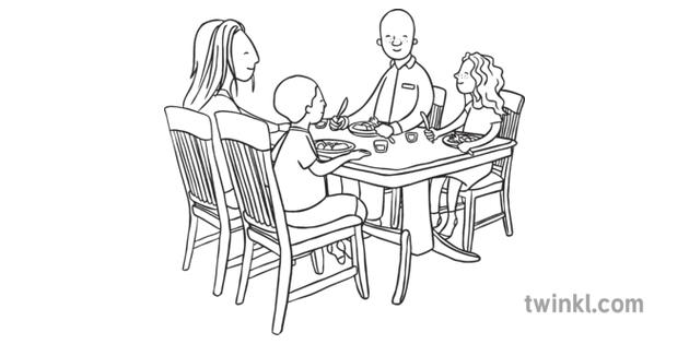 Family Sitting At The Dinner Table Black And White Illustration Twinkl