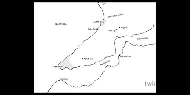 Gallipoli Map ANZAC Day World War II KS2 Black and White ...