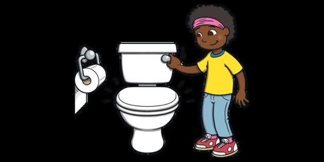 Girl Flushing Toilet Using Bathroom Potty Training Usa Ks1 Illustration