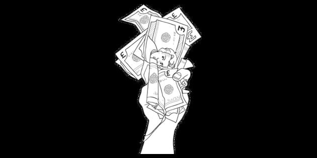 Hand Holding Cash Money General Secondary Bw Rgb Illustration Twinkl