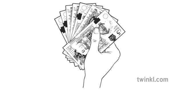 Hand Holding Wad Of Cash Black And White Illustration Twinkl