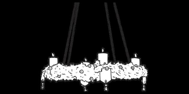Colgando Corona De Adviento Blanco Y Negro Ilustración Twinkl