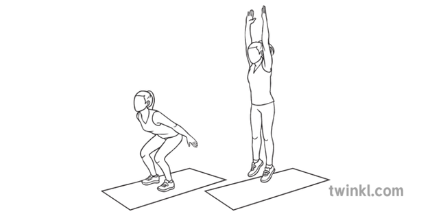 Jump Squats Steps Sequence Health Fitness Exercise PE