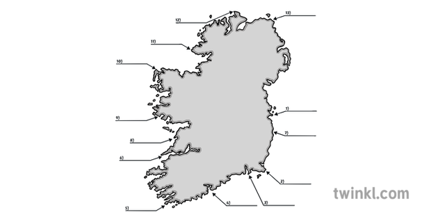 Map Of Ireland Headlands.Ks1 Roi Headlands Of Ireland Illustration Twinkl