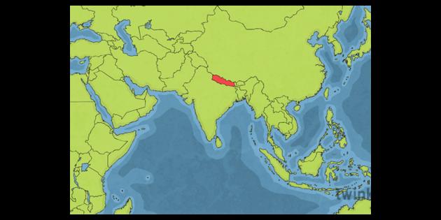 KS2 World Map with Nepal Illustration - Twinkl