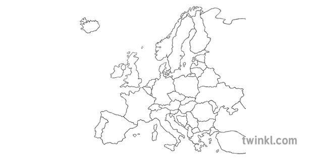 photograph regarding Map of Europe Black and White Printable With Names named Map Of Europe Blank Europe Working day Subjects Geography KS2 Black