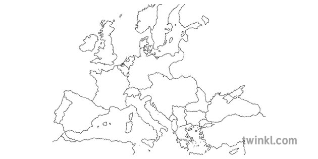Map Of Europe WW1 No Labels Countries at War Axis Allied