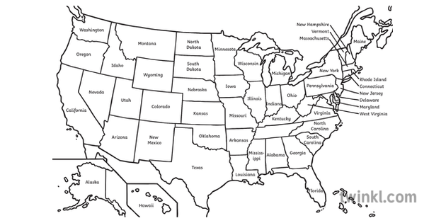 Labelled Map Of America Black And White Illustration Twinkl