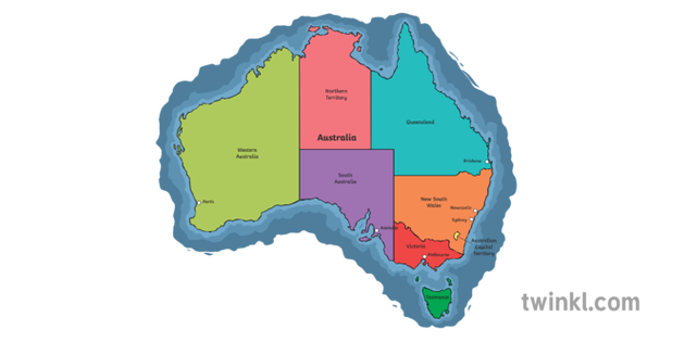 Map Of Australia Ks1.Map Of Australia With States Geography Ks1 Illustration Twinkl