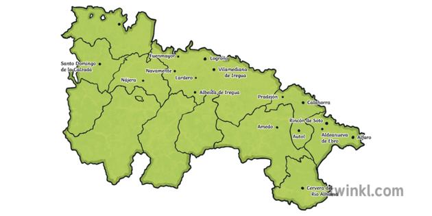 Map of La Rioja Comarcas With Towns Labelled Cities ...