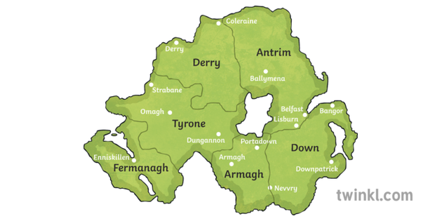 Map Of Northern Ireland Cities.Map Of Northern Ireland With Cities Illustration Twinkl