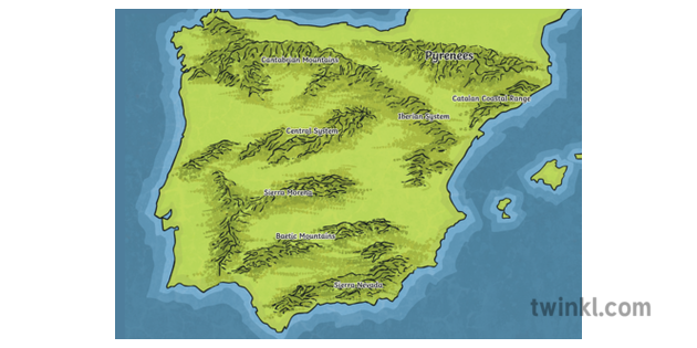 Map Of Spain Mountains.Map Of Spain With Mountains Relief Espana Iberian Sierra Nevada Mps Ks2