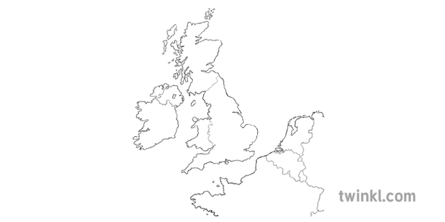 Map Of Uk No Labels.Map Of Ww1 Soldiers Journey No Labels Black And White Illustration