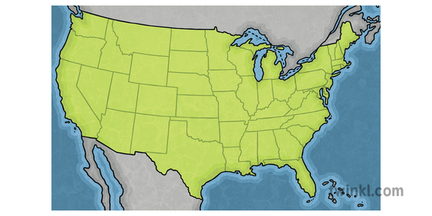Map of the USA Geography Countries KS2 Illustration - Twinkl