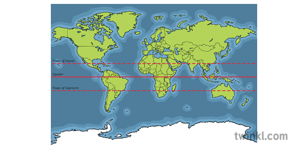 Map of the World with Tropic of Cancer Tropic of Capricorn ...