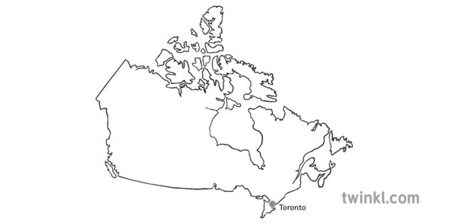 Map Of Canada With Toronto Black And White Illustration Twinkl