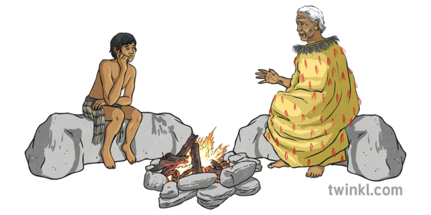 Maui And Old Man Sitting Around Fire No Background Illustration Twinkl