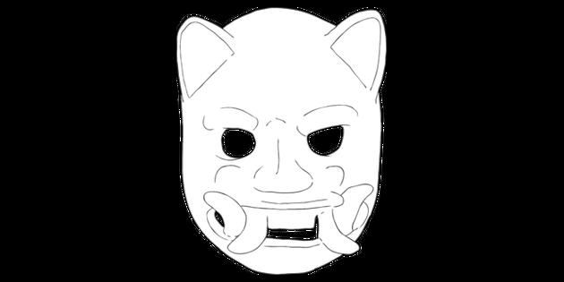 Mayan Event Mask Jaguar History Ks2 Bw Rgb Illustration Twinkl